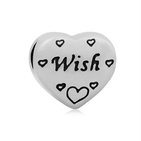 Stainless Heart Shaped Wish Charm Bead