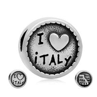 Stainless Steel I Love Italy Charm Bead