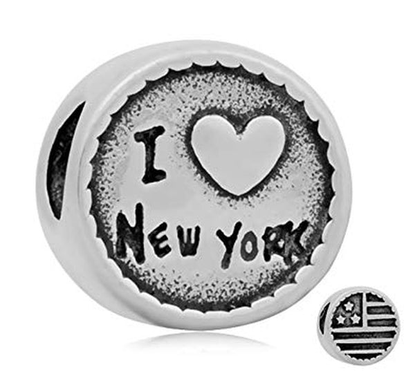 Stainless Steel I Love New York Charm Bead