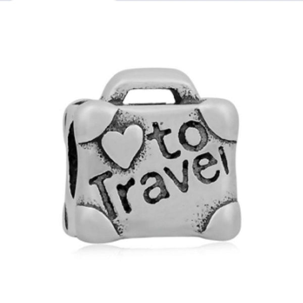 Stainless Steel I Love To Travel Suitcase Charm Bead
