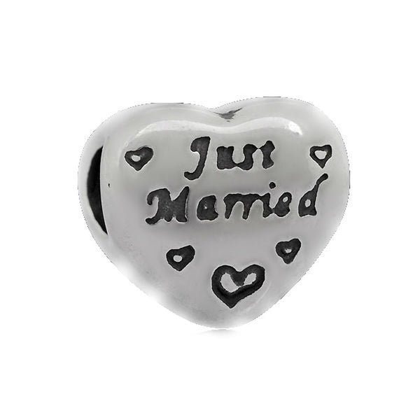 Stainless Heart Shaped Just Married Charm Bead