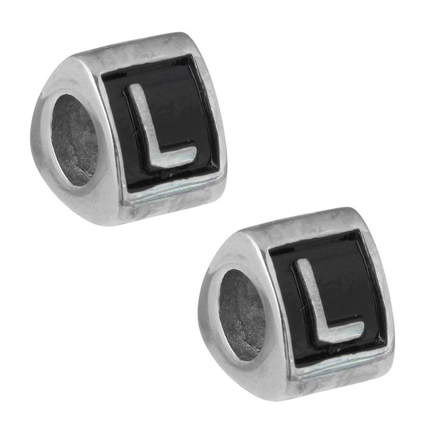 Stainless Steel Letter L Alphabet Charm Bead