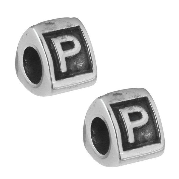 Stainless Steel Letter P Alphabet Charm Bead