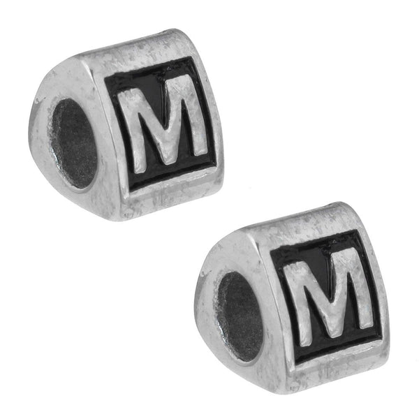 Stainless Steel Letter M Alphabet Charm Bead
