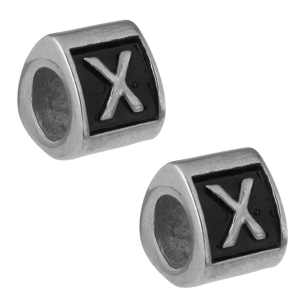 Stainless Steel Letter X Alphabet Charm Bead