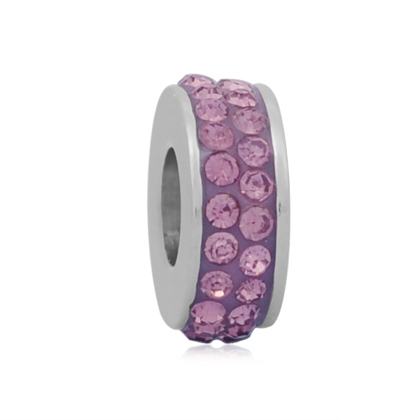 Stainless Steel Light Purple Rhinestones Charm Bead