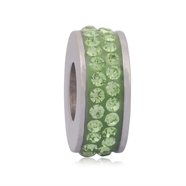Stainless Steel Light Green Rhinestones Charm Bead