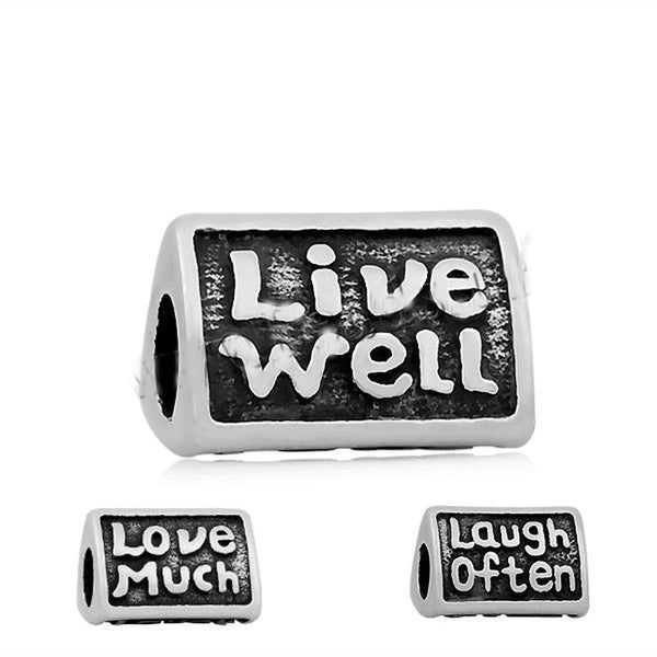 Stainless Steel Live Well, Love Much, Laugh Often 3-Sided Charm Bead