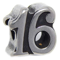 Stainless Steel Number 16 Charm Bead