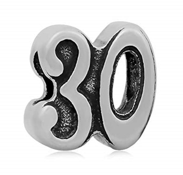 Stainless Steel Number 30 Charm Bead