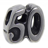 Stainless Steel Number 50 Charm Bead