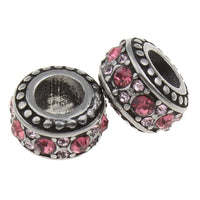 Stainless Steel Two Toned Pink Rhinestones Charm Bead