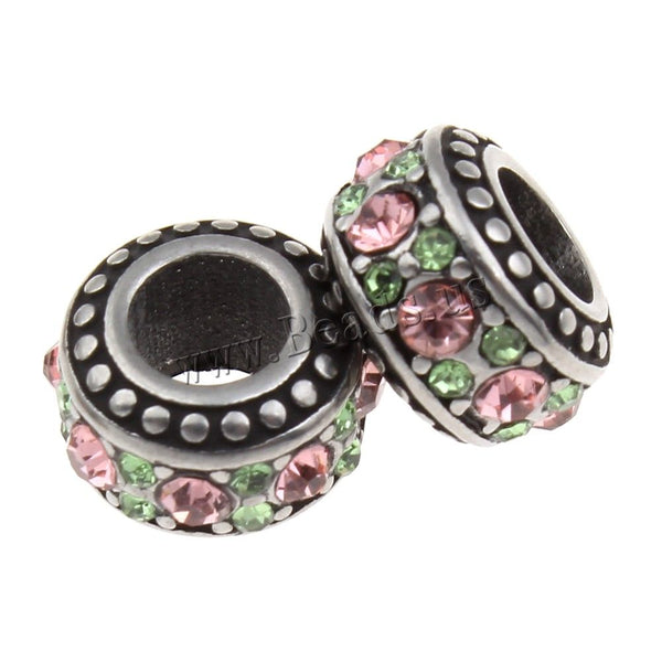Stainless Steel Pink and Green Rhinestones Charm Bead