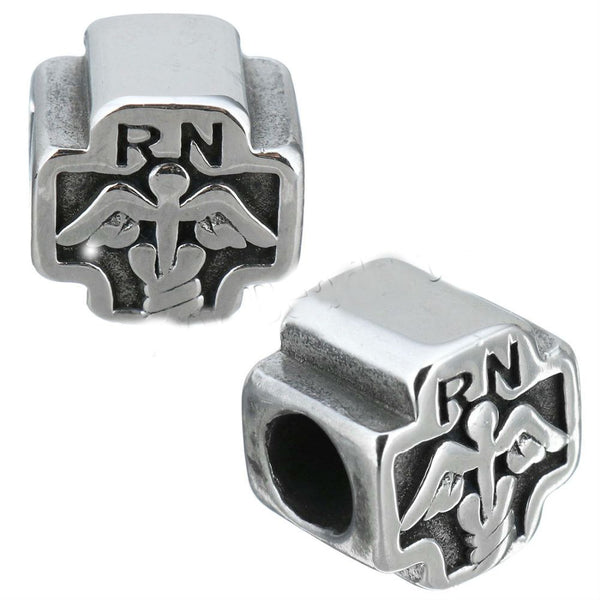 "Stainless Steel Registered Nurse ""RN"" Charm Bead"
