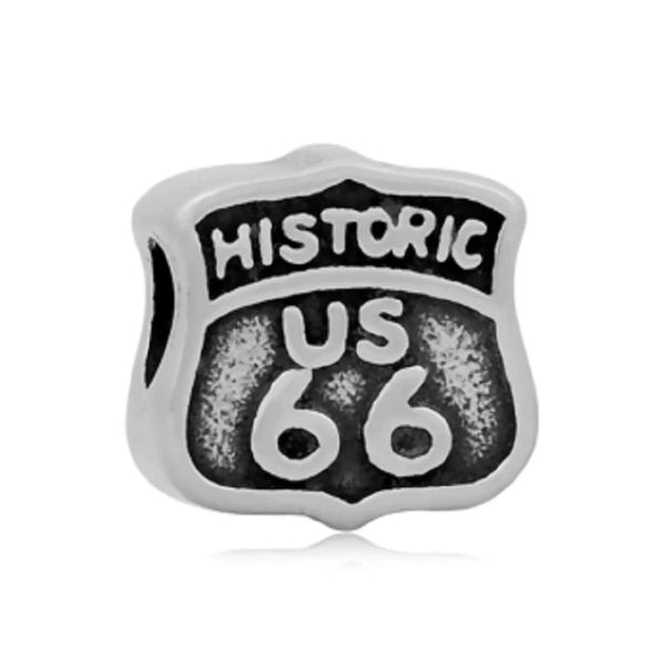Stainless Steel Historic Route 66 Travel Inspired Charm Bead