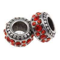 Stainless Steel Ruby Red Rhinestones Charm Bead
