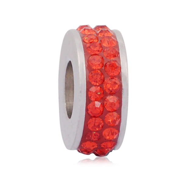 Stainless Steel Red Rhinestones Charm Bead