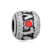 Stainless Steel Red Rhinestone Love Charm Bead