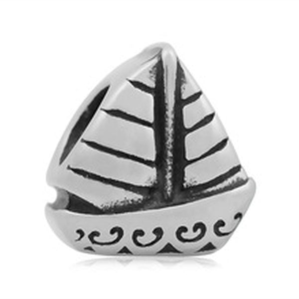 Stainless Steel Sailboat Charm Bead