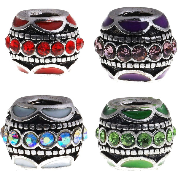 Buckets of Beads Enamel Rhinestone Charm Bead Fits Pandora Troll Biagi Zables, Set of 4