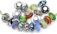 Ten Silver Single Core Murano Glass Troll Style Beads