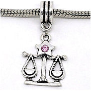 Pink Rhinestone Libra Zodiac Dangle Charm