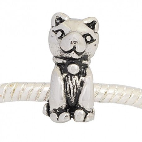 Antique Silver Tone Kitty Cat Charm Bead
