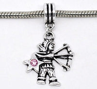Pink Rhinestone Sagittarius Dangle Charm