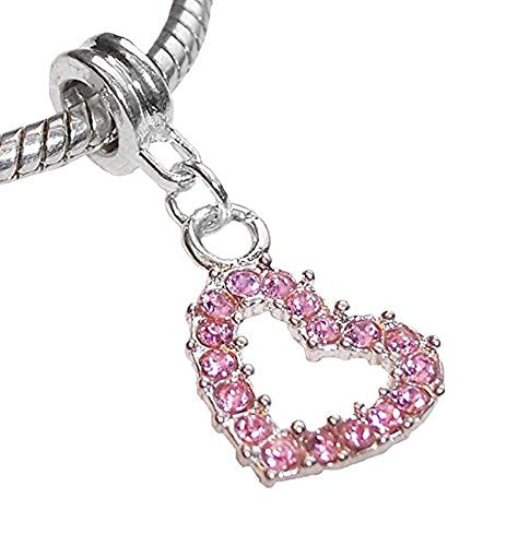 Pink Rhinestone Open Heart Dangle Charm