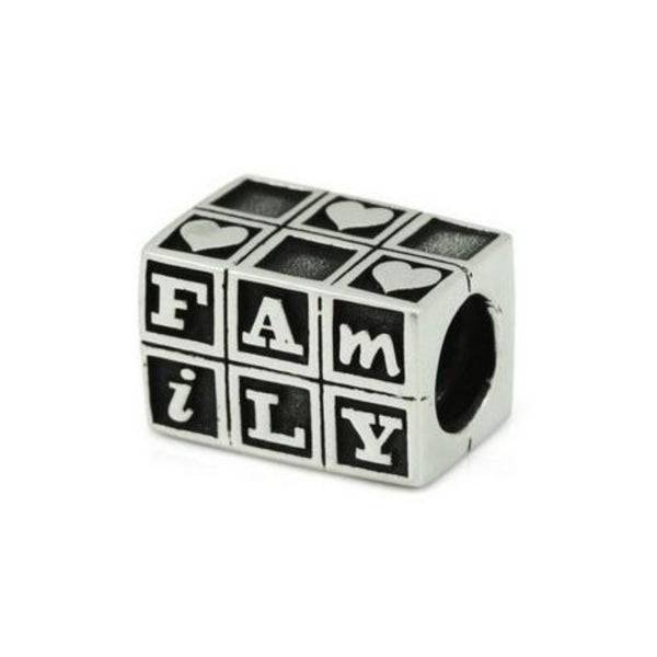 Baby Blocks Family Charm Bead