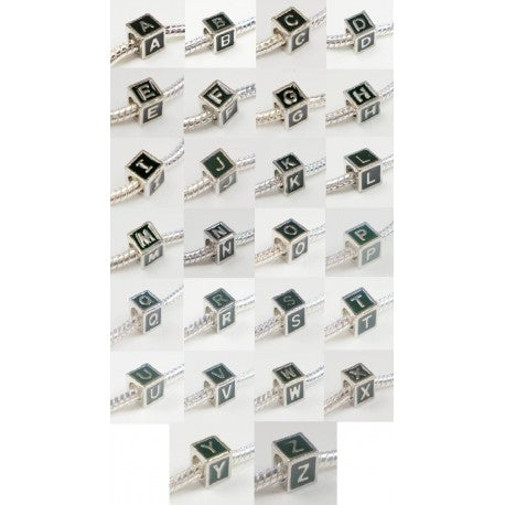 Black Enamel Pack of 26 Letter Bead Charms. Fits All Major Charm Bracelets.