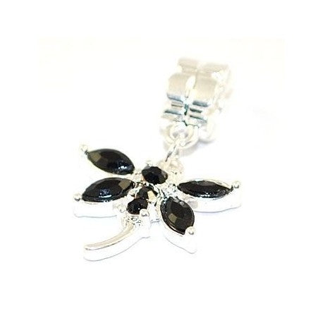 Black Rhinestone Dragonfly Dangle Charm Bead