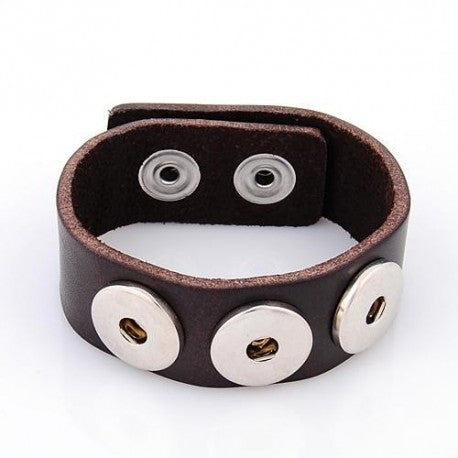 Brown Leather Chunk Charm Bracelet. For Snap Button Chunk Charms.