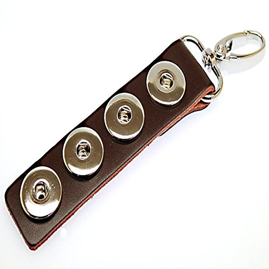 Brown Leather Chunk Charm Keychain. For Snap Button Chunk Charms.