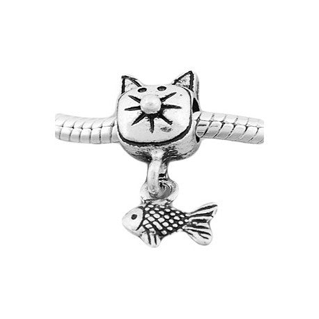 Cat And Fish Dangle Charm Bead