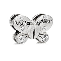 Clear Rhinestone Mother & Daughter Butterfly Charm Bead