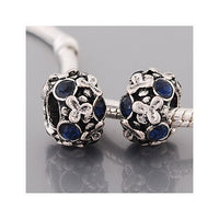Dark Blue Stones Flowers Charm Bead