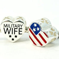 USA Flag Military Wife Charm Bead