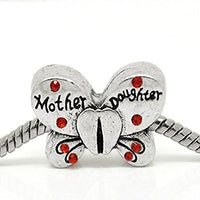 Red Rhinestone Mother Daughter Butterfly Charm Bead