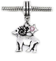 Pink Rhinestone Aries Zodiac Dangle Charm