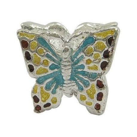 Buckets of Beads Colorful Enamel Butterfly Charm Bead
