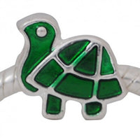 Green Enamel Turtle Charm Bead