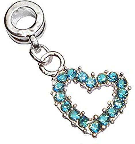Aqua Blue Rhinestone Open Heart Dangle Charm