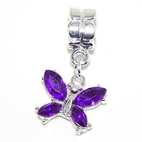 Purple Rhinestone Butterfly Dangle Charm