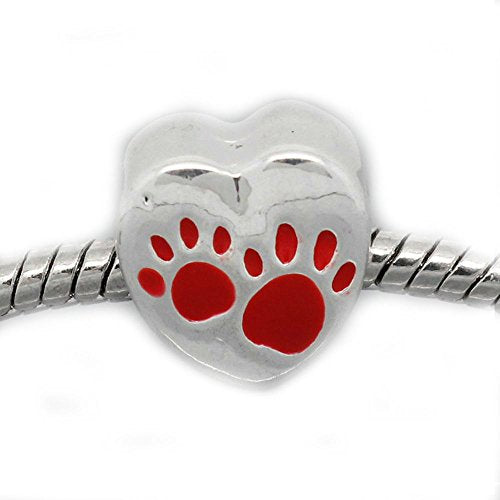 Buckets of Beads Red Love Heart Dog Paws Charm Bead