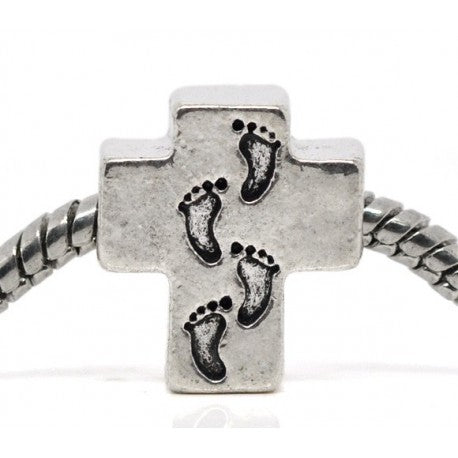 Footprints Cross Charm Bead