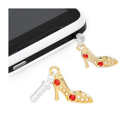 Gold Plated Red and Clear Rhinestone High Heel Phone Charm