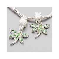 Green Rhinestone Dragonfly Dangle Charm