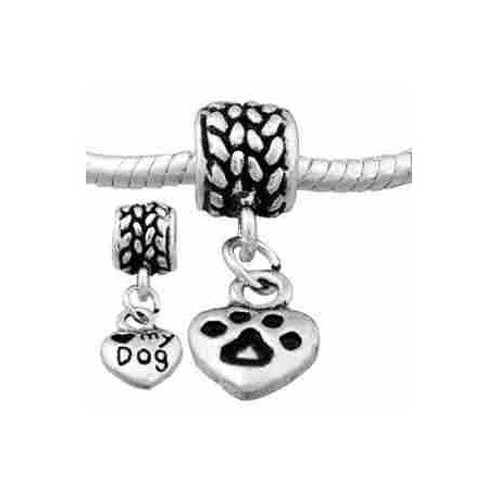 I Love My Dog Dangle Charm Bead