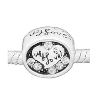 I Love You Clear Rhinestone Charm Bead